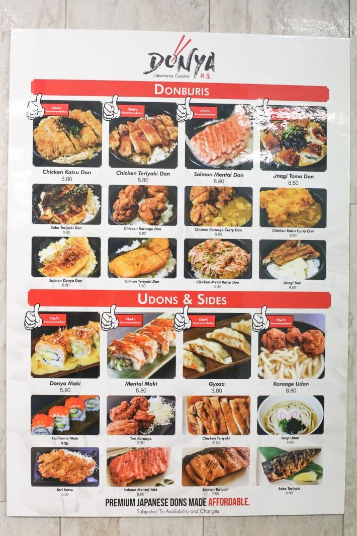 Donya Japanese Cuisine Menu