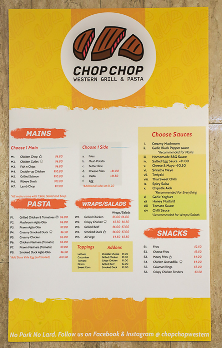 Chop Chop Menu