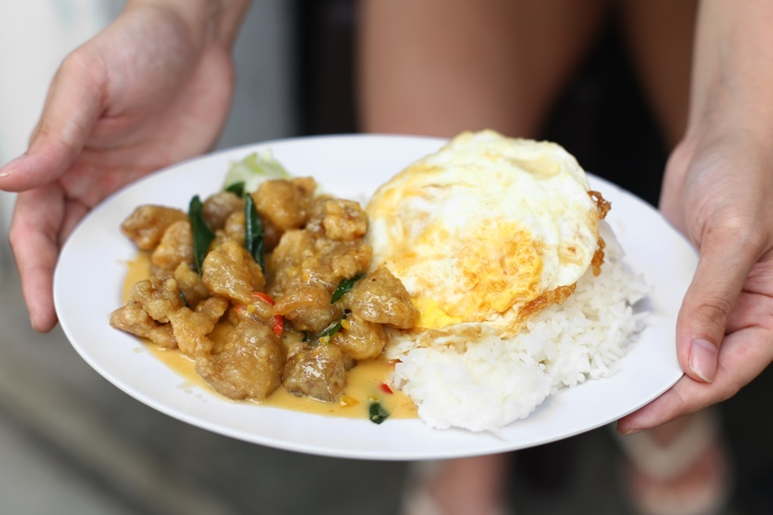 Salted Egg Chicken Dice Rice