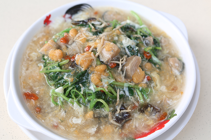 trio egg spinach tian wei seafood